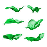 Set of green fabric in motion Royalty Free Stock Images