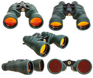Set from green field binoculars isolated on white Royalty Free Stock Images