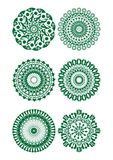 A set of green fine circle patterns. In filigree style Stock Image