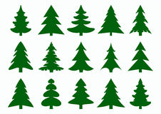 Set of green fir-tree and pines silhouettes isolated on white background. New Year, Christmas tree modern icons. Festive symbols for your design. Large Stock Photos