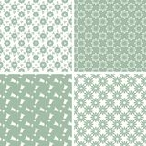 Set of floral abstract seamless patterns. Set of green floral abstract seamless patterns Royalty Free Stock Image
