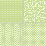 Set of floral abstract seamless patterns. Set of green floral abstract seamless patterns Royalty Free Stock Images