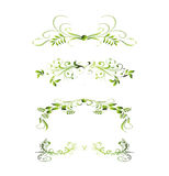 Set of Green Floral Decoration Elements Stock Photo