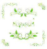 Set green floral elements with eco leaves (2) Stock Photo