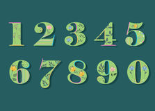 Set of Green Floral Numerals. Watercolor Flowers Royalty Free Stock Photography