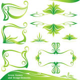 Set of  Green  frames and  Design Elements. Stock Photos