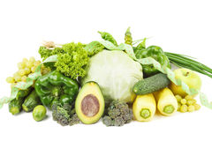 Set of green fresh raw vegetables and fruits Stock Photography