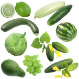 Set of green fruits and vegetables Royalty Free Stock Photo