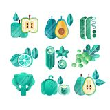 Set of green fruits and vegetables with gradients and texture. Healthy eating. Organic food. Abstract flat vector design. Set of green fruits and vegetables with Stock Image