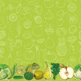 Set of green fruits and vegetables on light green background Stock Photography