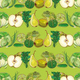 Set of green fruits and vegetables on light green pattern Royalty Free Stock Photo