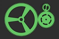 Set of green gears and cogs on black background. Mechanical background. 3D rendering illustration Stock Image