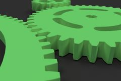 Set of green gears and cogs on black background. Mechanical background. 3D rendering illustration Royalty Free Stock Images