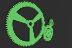 Set of green gears and cogs on black background. Mechanical background. 3D rendering illustration Stock Images