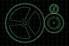 Set of green gears and cogs on virtual screen. Technological background. 3D rendering illustration Stock Photography