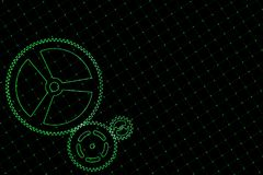 Set of green gears and cogs on virtual screen. Technological background. 3D rendering illustration Royalty Free Stock Photos