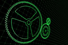 Set of green gears and cogs on virtual screen. Technological background. 3D rendering illustration Royalty Free Stock Image