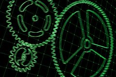 Set of green gears and cogs on virtual screen. Technological background. 3D rendering illustration Stock Photo