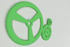 Set of green gears and cogs on white background. Mechanical background. 3D rendering illustration Stock Photography