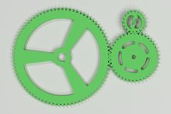 Set of green gears and cogs on white background. Mechanical background. 3D rendering illustration Royalty Free Stock Images