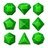 Set of Green Gems for Match3 Games. Vector Stock Photography