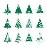 Set of Green Geometric Christmas Tree. Vector Illustration Stock Photography
