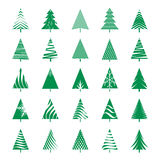 Set of Green Geometric Christmas Tree. Vector Illustrations Stock Images