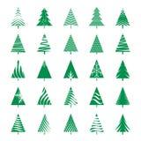 Set of Green Geometric Christmas Tree. Stock Images