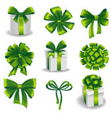 Set of green gift bows with ribbons Stock Photo