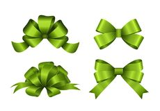 Set of green gift bows. Vector illustration. Concept for invitation, banners, gift cards, congratulation or website layout vector. Stock Photo