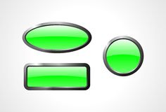 Set of green glass buttons. With the metal edge Royalty Free Stock Photos
