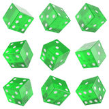 Set green glass dice Stock Photo