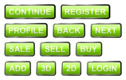 Set of green glass signs. Set of green isolated glass signs with gloss and metal edge Royalty Free Stock Photo