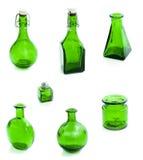 Set of green glass vessel Stock Photo