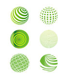 Set of Green Globes Vector Illustration Stock Photo