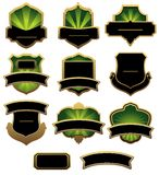 Set of green and golden labels Stock Images