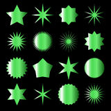 Set of green gradient icons and labels Stock Photos