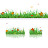 Set Green Grass Borders with colorful flowers and butterflies. Vector Illustration. Summer, plant, eco and natural, growth or fres. H. Design for card, banner Stock Images