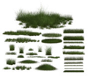 Set of Green Grass Designs Stock Photo