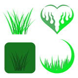 Set of Green Grass Icons Royalty Free Stock Image