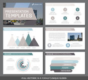 Set of green and gray, brown elements for multipurpose presentation template slides with graphs and charts. Leaflet Stock Image