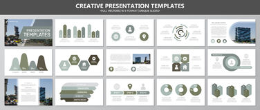 Set of green and gray elements for multipurpose presentation template slides with graphs and charts. Leaflet, corporate Stock Photos