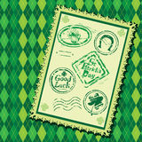 Set of Green grunge rubber stamps with Beer mug Royalty Free Stock Photo