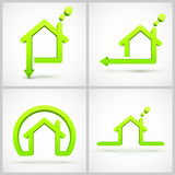 Set of green house symbols Royalty Free Stock Photo