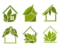 Set of green houses. Design elements on a white background vector illustration