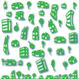 Set of green houses, eco city. Many types of green homes stock illustration