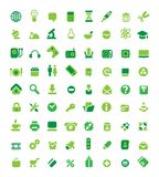 Set of green icons. Set of 72 green icons. Vector illustration Royalty Free Stock Photo