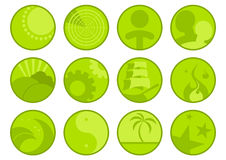 Set of Green Icons. A set of small green icons with different designs Stock Image