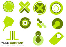 Set of green icons. A set or collection of various artistic icons in greens and white Royalty Free Stock Images