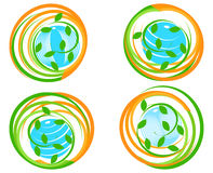 set of a green icons with planet. Royalty Free Stock Photos